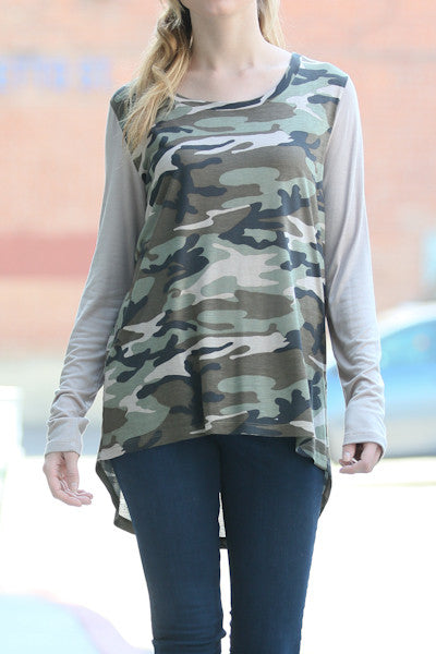 Long Sleeve Military Casual Top
