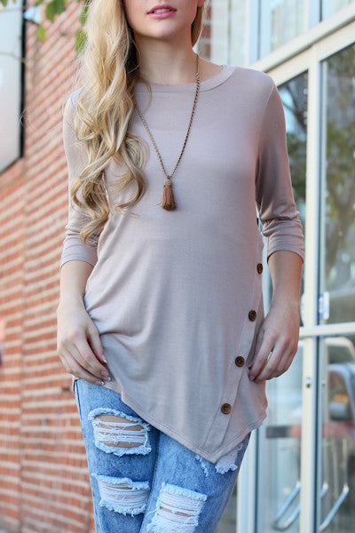 Solid Knit Front Button Jersey Top