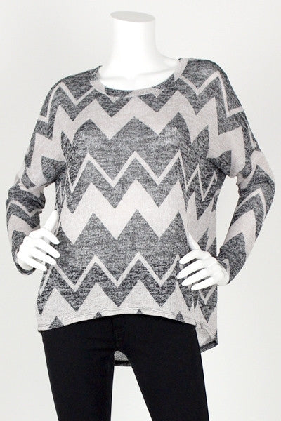 Long Sleeve Chevron Pattern Sweater