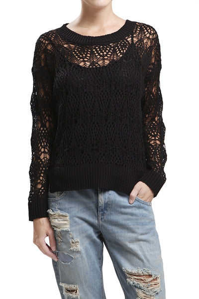 Black Knit Lightweight Sweater