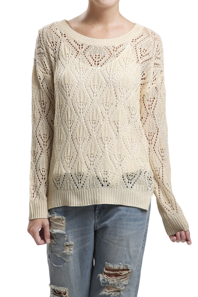 Ivory Knit Long Sleeve Top