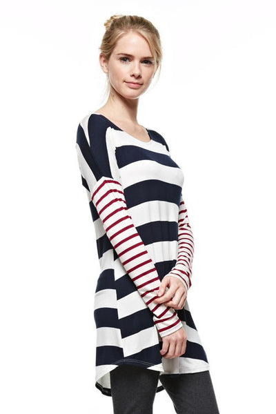 Navy & White Stripe Tunic with Burgundy Stripe Sleeve