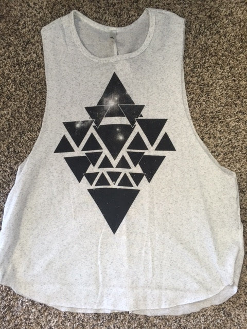White Marbled Aztec Tank