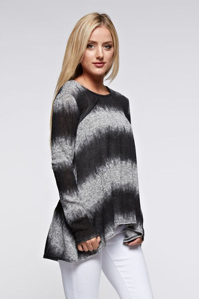 Heather Grey And Black Striped Top
