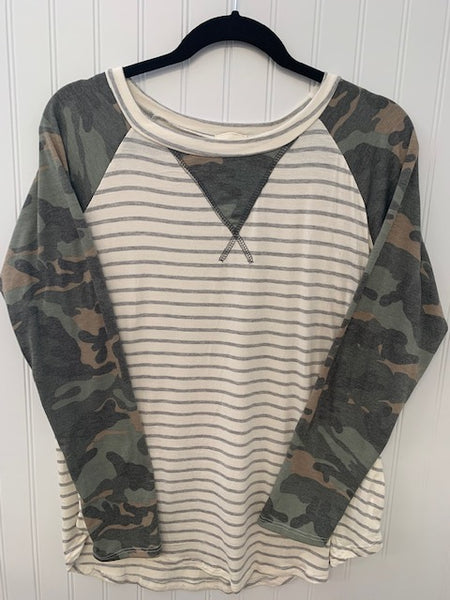 Camo & Stripes Print Top