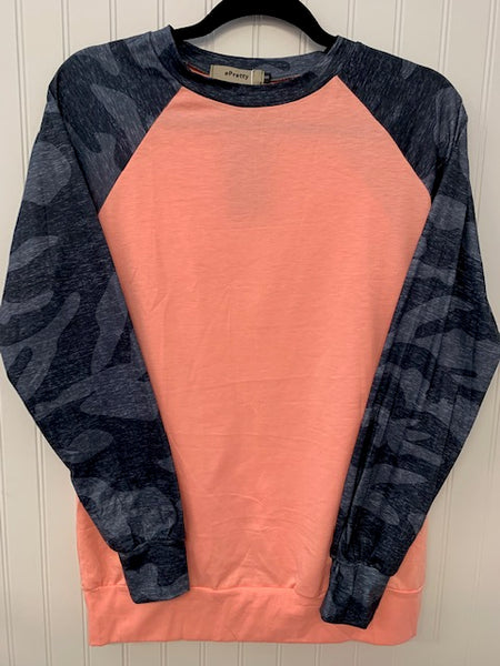 Pink & Blue Camo Raglan Top