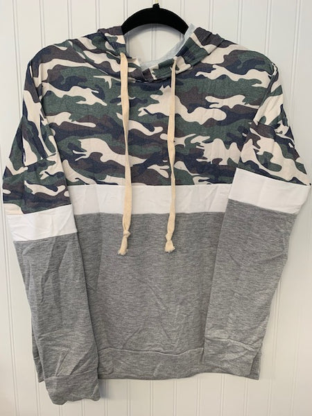 Green Camo and Grey Hoodie