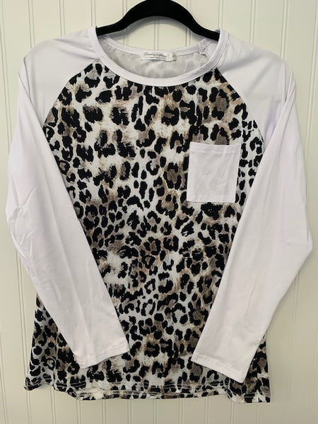 White and Leopard Print Raglan Top