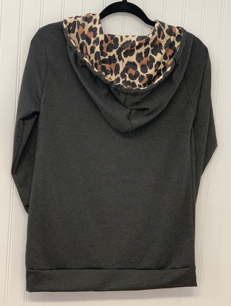 Solid & Animal Print Contrast Hoodie with Pocket