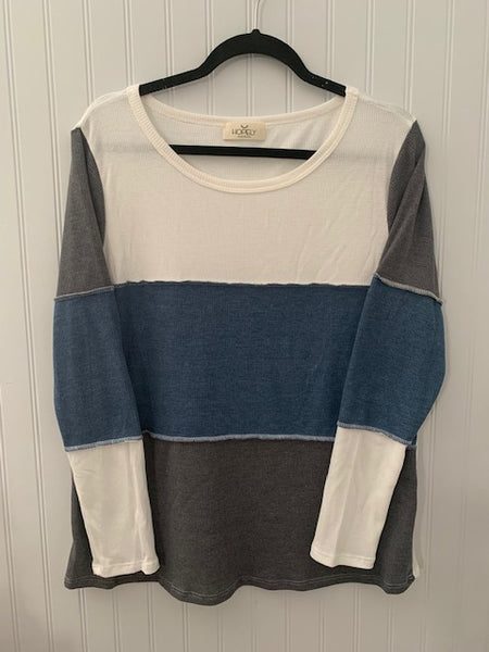 Color Block Round Neck Thermal Top
