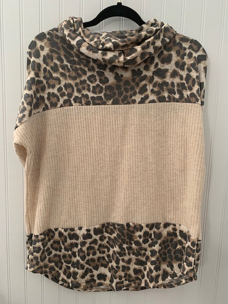 Waffle Animal Color Block Cowl Neck Top