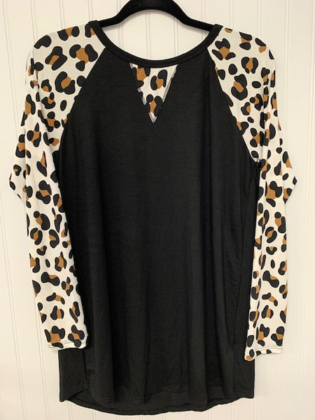 Solid and Animal Print Contrast Top