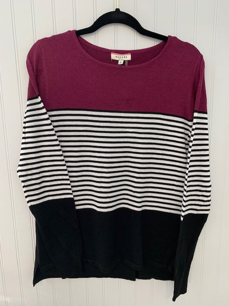 Solid/Stripe Knit Combination Sweater