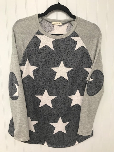 Star Print Raglan Top with Elbow Patches