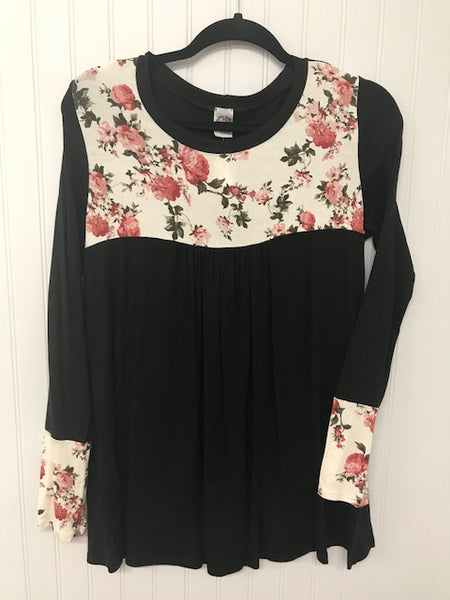 Solid Long Sleeve Colorblock Floral Contrast Detail Knit Top