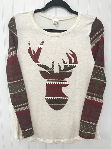 Long Sleeve Deer Silhouette Knit Top