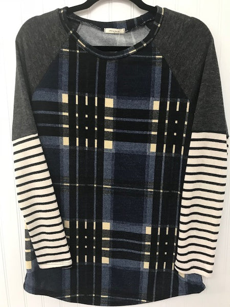 Miru Plaid Body, Solid/Stripe Long Sleeve with a Banded Round Neckline