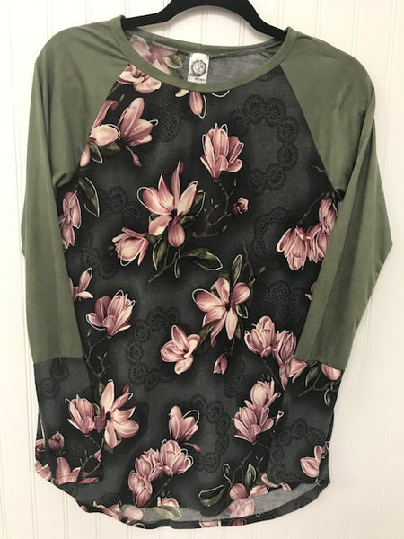 Suede Long Sleeve Floral Print Top