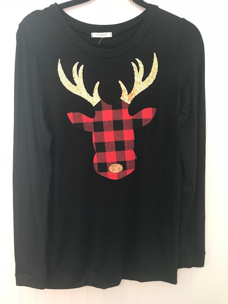 Flannel/Sequin Reindeer Head Patch Top