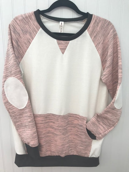 Long Sleeve Loose Fit Top with Elbow Patch and Front Pocket