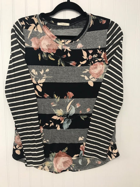 Take Me Out Top Floral Print Long Sleeve Top with Cotrast Stripes