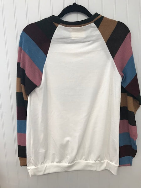 Colorful Striped Long Sleeve Top with Heart Patch
