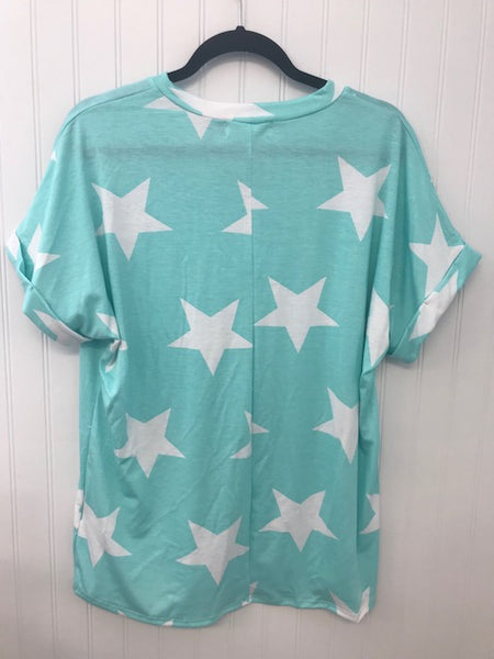Short Cuff Sleeve Star Print Pocket Top