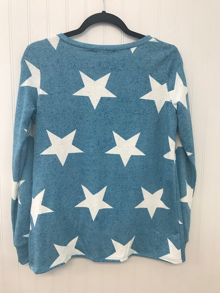 Banded Long Sleeve Star Print Twist Hem Top