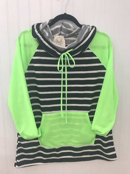 Neon Contrast Cowl Neck Hoodie with Kangaroo Pocket