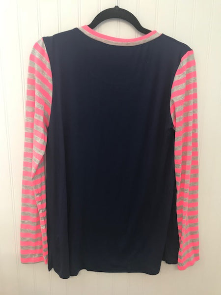Neon Striped Long Sleeve Top with Chest Pocket