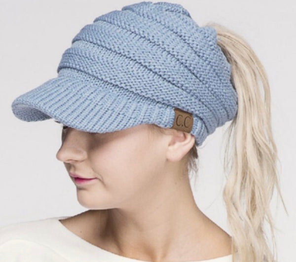 CC Messy Bun Knitted Brim Pony Tail Hat