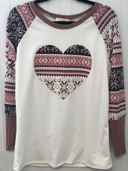 Heart Fabric Patch French Terry Top with Contrast Long Sleeve