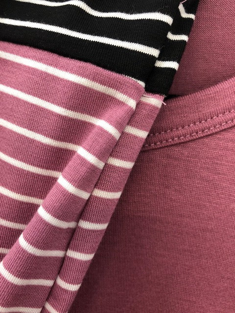 Long Contrast Sleeve with Thumb Insert Featuring Contrast Knit Stripe