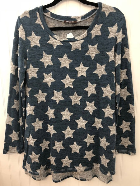 Long Sleeve Star Print Side Split Tunic