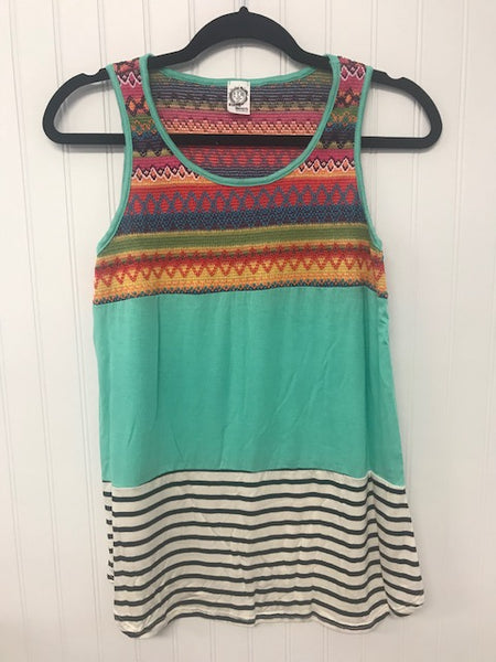 Multi Print Colorblock Embroidered & Stripe Knit Casual Tank