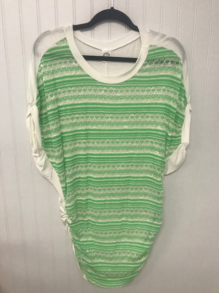Dolman Short Sleeve Glitter Stripes Neon Green Top