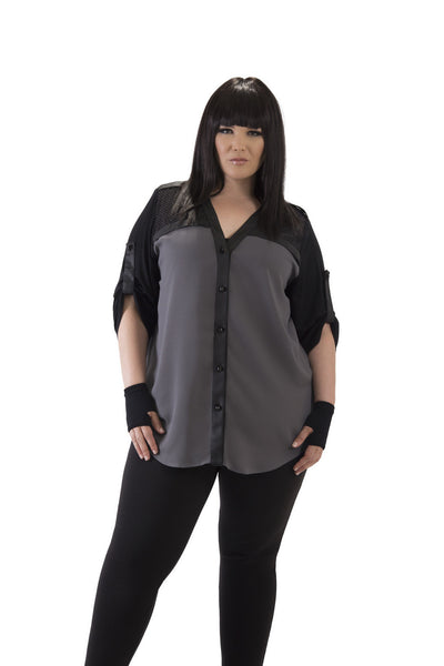 3/4 Sleeve Gun Metal Grey with Black Accents Top