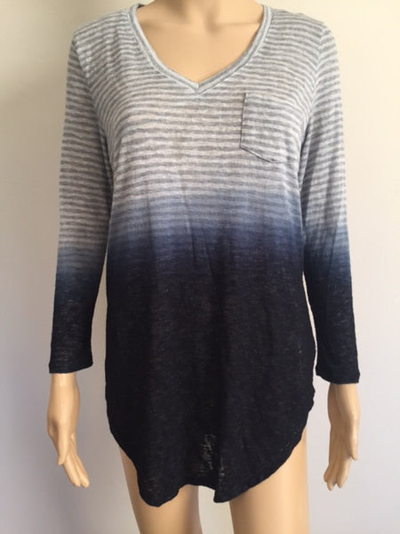 Long Sleeve Stripe Deep Dying Top with Pocket