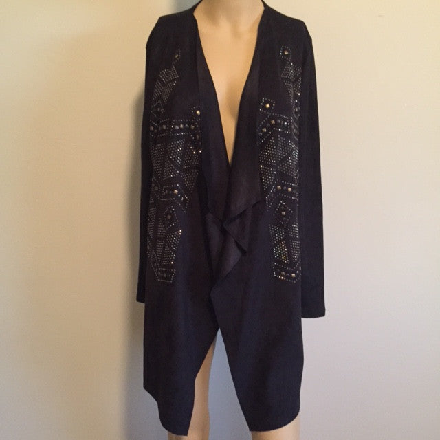 Black Suede Cardigan