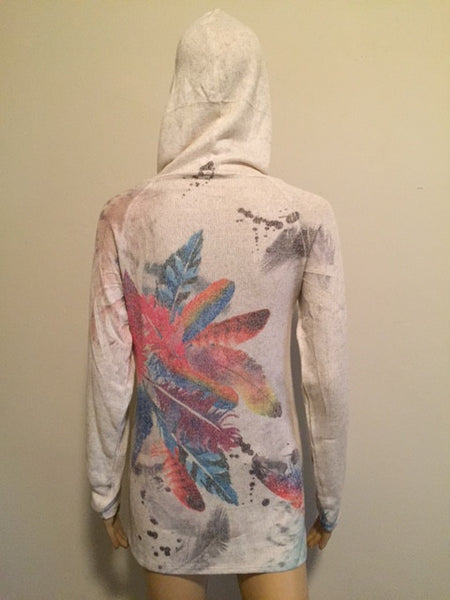 Light Long Sleeve Feather Hoodie