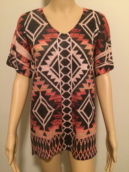 Multi Color Aztec Design Short Sleeve
