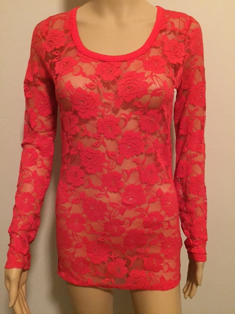 Long Sleeve Red Lace Top