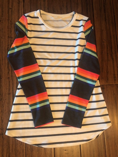 Long Sleeve Rainbow Stripe Sleeve Top