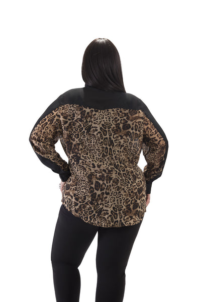 Sheer Leopard Print Long Sleeve Top