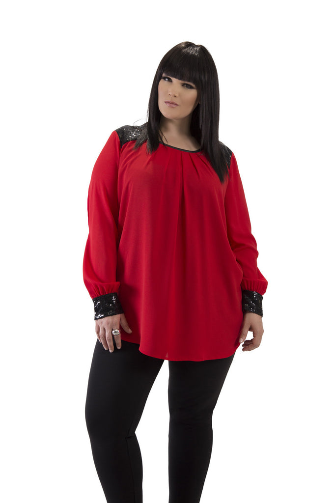 Holiday Red Long Sleeve Top