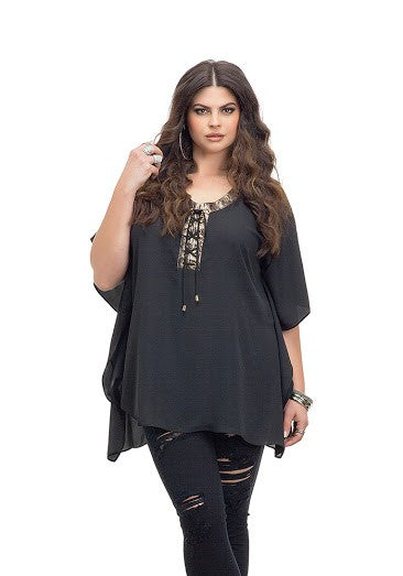 Black Beach Poncho Top