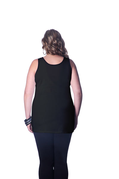 Plus Size Solid Black Tank Cami
