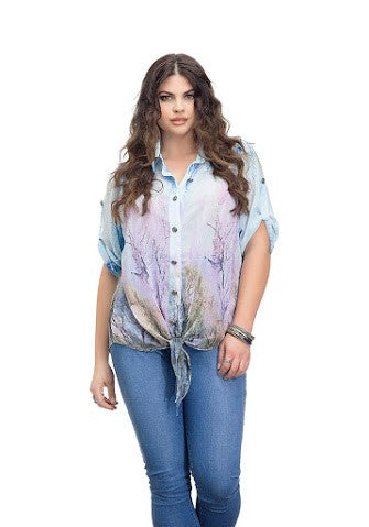 Shear Blue Button Up Tie Top