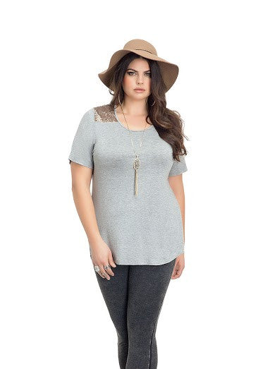 Grey Tee with Upper Sequin Accent
