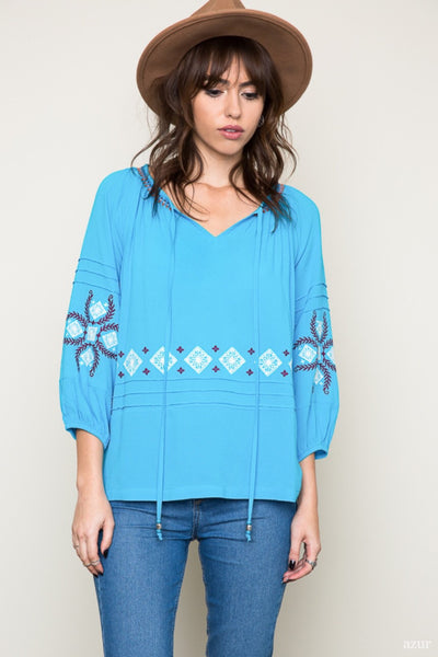 Azur Embroidered Blouse